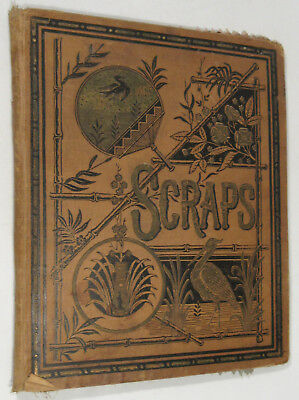 Antique Scrapbook C 1889 Cloth Pages, Agricultural, Trade Cards, More!