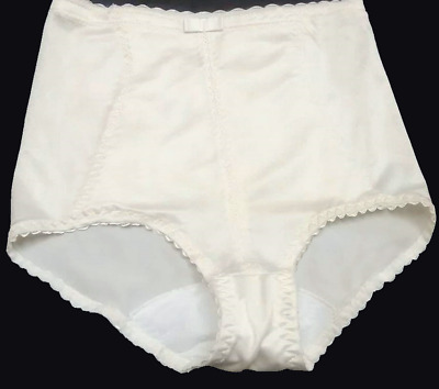 Vtg  Shiny Ivory Scalloped Firm Control Panty Girdle Pantie Knickers H:38/40""