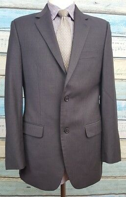 Alfani  2 Button  Size 40L Black Striped Single Breasted 2 Piece Wool Mens Suit