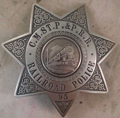 Early Obsolete Railroad Police Badge CM St P P Chicago Milwaukee St Paul Pacific