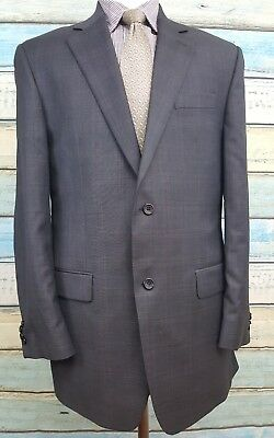 Michael Kors 2 Button 40L Grey Windowpane Single Breasted Wool Mens Suit