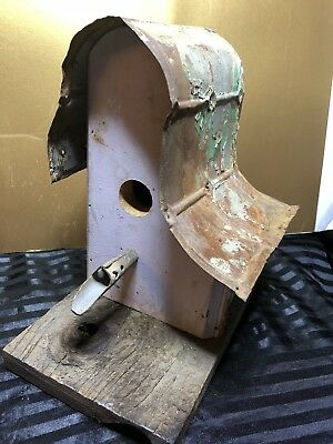 Handcrafted Folk Art Bird House Wood Tin Ceiling Roof Maple Tap Perch