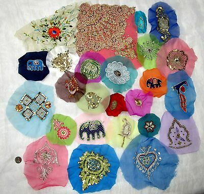 LOT Antique Vintage Sari Saree EMBROIDERED APPLIQUES 25 PCS #ABGH5