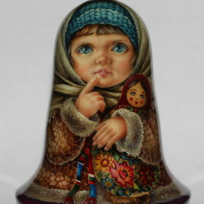 1 kind paint roly poly nesting matryoshka Russian author doll girl baby winter