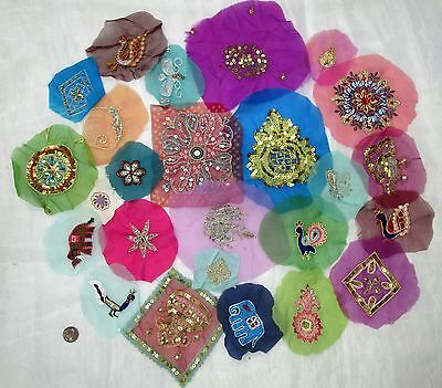 LOT Antique Vintage Sari Saree EMBROIDERED APPLIQUES 25 PCS #ABGH4