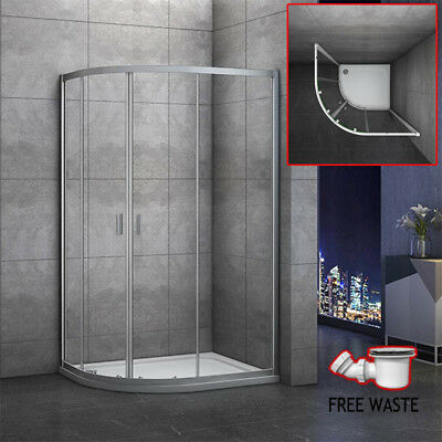 900x760mm Quadrant Shower Enclosure and Stone Tray Corner Cubical Glass Left