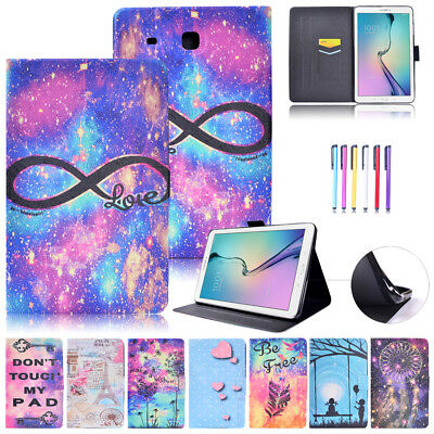 Painted Magnet Leather Card Slot Stand Flip Case Cover For Samsung Tab T280 T580
