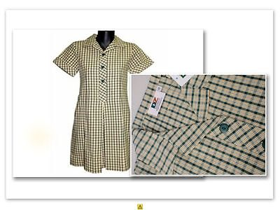 BNWT SIZE 10 CHEST 74cm GIRLS SCHOOL DRESS UNIFORM YELLOW / BOTTLE GREEN