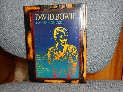 David Bowie Live In Concert Poster 1974 1978 Laminated on Wood 8 x 10