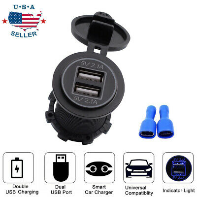4.2A Dual USB Port Charger Socket Outlet Waterproof 12V LED for Motorcycle Car