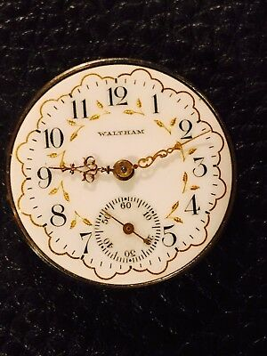0S Waltham Fancy Dial Pocket Watch Movement For Fix Good Balance