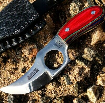 """6"""""""" Defender Xtreme Skinner Knife with Multi-Color Handle and Leather Sheath"""