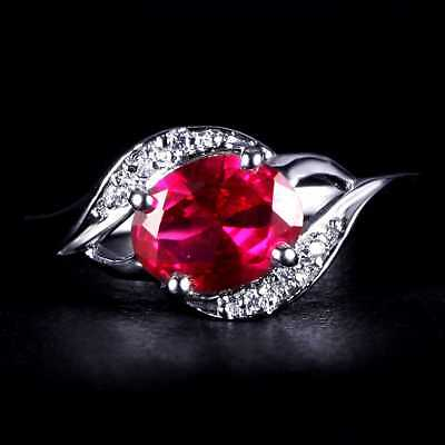 QCNL56 Handmade 1.80ct Natural Ruby Mosaic 14KT White Gold Ring Size US 7