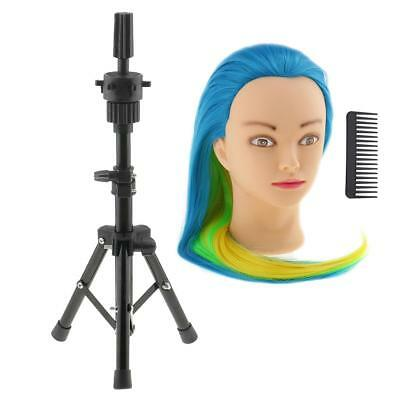 Salon Mannequin Practice Hair Head w/ Metal Cosmetology Holder Tripod Stand