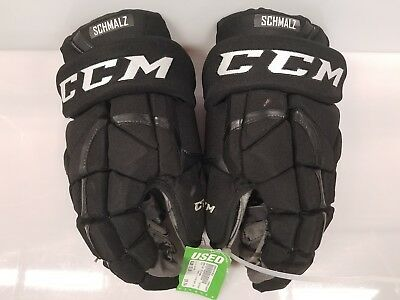 "Matt Schmalz LA Kings Game Used CCM HG12 Pro Hockey Gloves Black 15"" 2016-2017"