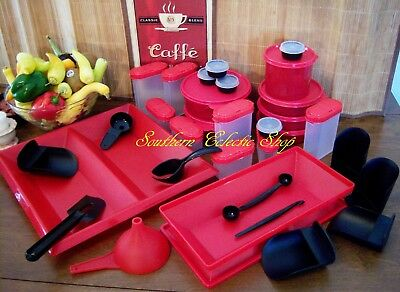 31 pc Tupperware Get Together Holiday Table Buffet Serving Set Red