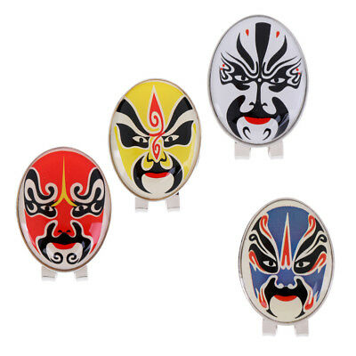 Mini Alloy Peking Opera Mask Golf Hat Clip Magnetic with Golf Ball Marker