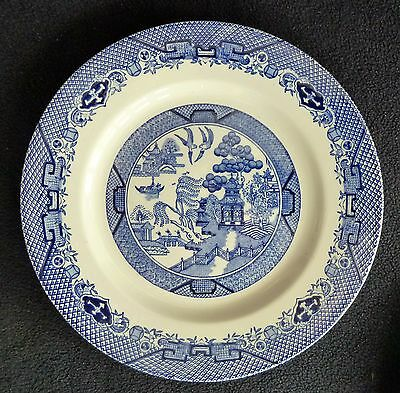 """TWO Blue & White China / Pottery  Dessert Plates """"Willow"""" Barratts"""