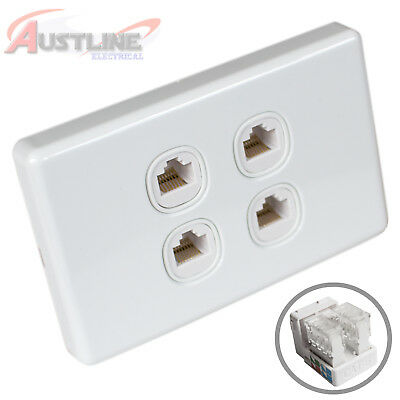4Gang Network Cat6 Wall Plate Clipsal Style 4Port RJ45 LAN Jack +C-Clip Aw4C90