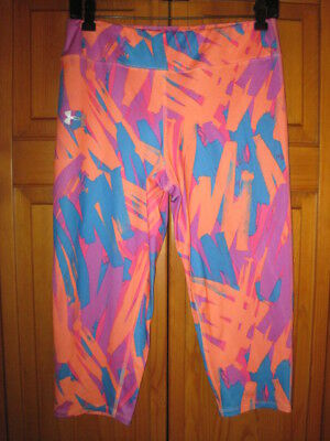 Under Armour All Season Gear Fitted colorful capri tights girls YXL XL running