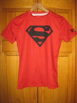 Under Armour Heat Gear Fitted Superman shirt kids boys YLG red DC Comics