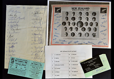 1987 SQUAD SIGNED 30x RUGBY WORLD CUP NEW ZEALAND ALL BLACKS COLLECTION * RARE *