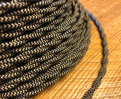 Cloth Covered Twisted Wire - Black/Tan Pattern, Vintage Style Fabric Lamp Cord