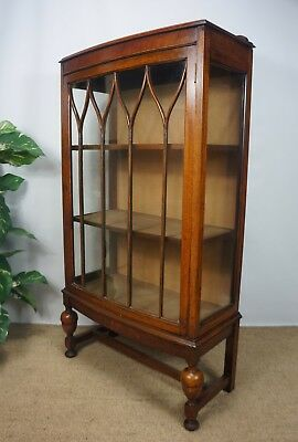 VERY ATTRACTIVE BOW FRONT C1920s ANTIQUE GLAZED OAK CHINA DISPLAY CABINET