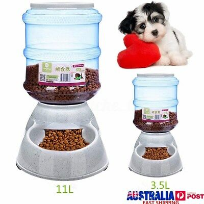 Large Automatic Pet Dog Cat Feeder Bowl Bottle Dispenser Plastic 11 Liters AU