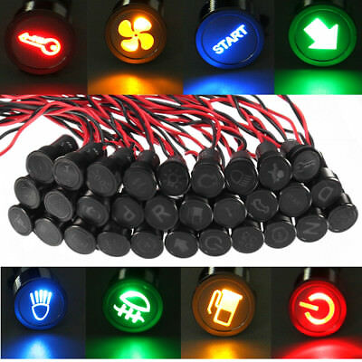 12V 24V 10mm Symbol LED Dash Panel Warning Indicator Pilot Light Lamp Car Boat