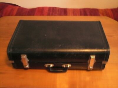 Old Vintage Black Expanding Suitcase - Marked SMS on the Catches