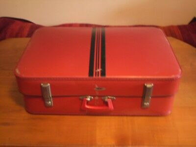 Old Vintage Foxcroft Suitcase - Red with Black Stripes - Made by Antler -Retro