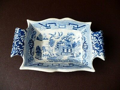 19th c Blue & White Willow Pattern Pickle Dish