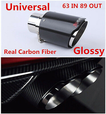 Real Carbon Fiber Muffler Exhaust Tip 63MM End Pipe for Car Rear Bumper Diffuser