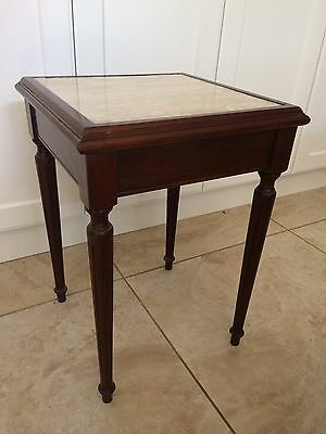 VINTAGE TRAVERTINE INLAID TIMBER OCCAISIONAL TABLE WINE STAND 510mm T x 360mm SQ