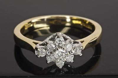 A SOLID 18ct GOLD 0.20ct NATURAL DIAMOND CLUSTER RING SIZE K (US 5.25)