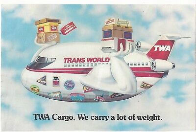 Rare TWA CARGO issue postcard Unmailed.Excellent.