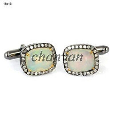 Vintage Style Deco 1.0CT Natural Rose Cut Diamond 925 Silver Opal Cufflinks @CSJ