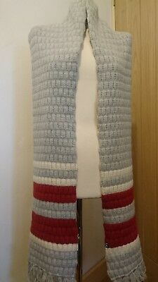 Long scarf, 'Urban Knit' wool & angora, new with tag. Grey, cream & red knitted.