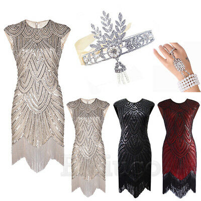 1920s Flapper Dress Great Gatsby Gown Prom Downton Abbey Fringed Sequin Dresses