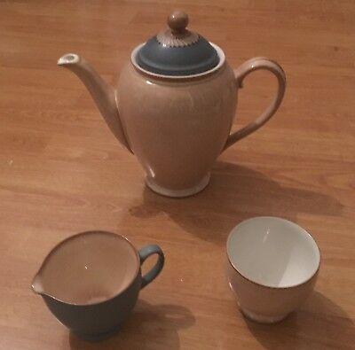 RARE Denby Luxor coffee pot, sugar bowl and milk jug.  Never been used.