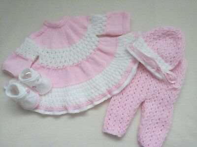 "Hand Knitted 4 Piece Dress Set For A Baby Girl ~ Reborn 19-21"" Or 0-3 Mth Baby"
