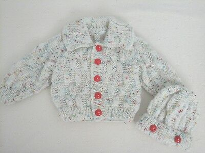 "Hand Knitted Cardigan And Hat Set For A Baby Boy ~ Reborn 20-22"" Or 0-3 Mth Baby"