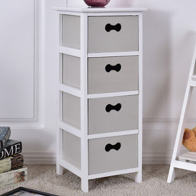 4 Drawer Tall Bedside Tables Slim Grey Bedroom Storage Unit Night Stand Table