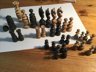Vintage Wooden Chess Set. Variation In Pieces Full Set 3 - 7 Cm