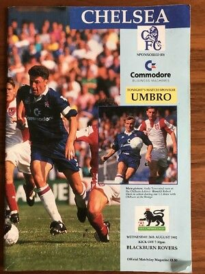 Chelsea V Blackburn Rovers Football Programme 1992. Chelsea Football Program