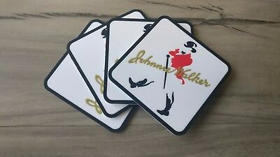 Set of 4 Johnnie Walker pvc rubber Drink Coasters bar mat runner barmat