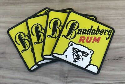 Set of 4 Bundaberg Rum Bundy Bear pvc rubber Drink Coasters bar mat runner