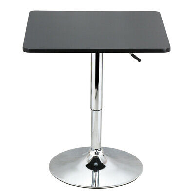 Modern Adjustable Square Bar Table Black MDF Top Pub Bristo Tables Swivel