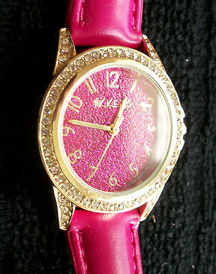 Tikkers Pink Glitter Dial Girls Watch With Pink Strap